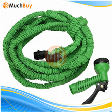 Green 75FT Flexible Expandable Garden Water Hose with Valve Rubber