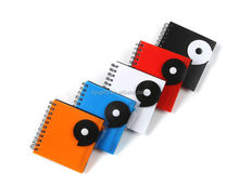 promotional plastic spiral button notebook and pen