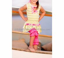 2015 New arrival! fashion style cotton kids fashion clothes outfits stripe ruffle pants dress top kids set