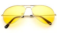 Haute définition conduite de nuit lunettes d'aviateur jaune Len Aviator lunettes de soleil Gun cadre oculos de sol masculino livraison gratuite