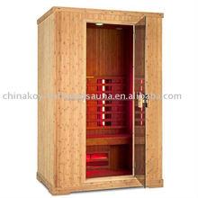single bamboo infrared sauna room, red glass sauna cabin