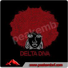 Fashion Delta Diva Hotfix Iron On Afro Girl Custom Transfer For Hoodies