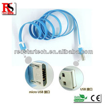 HOT!!Best selling colorful flat Portable Sync USB charger data cable for smartphone