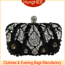 White Sequins and black beads clutch evening bags HW-BE1356