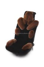 aodeli 100% australia shorn sheepskin and fox fur top grade car seat cover