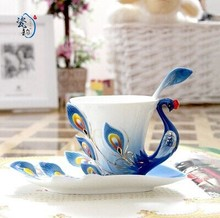 Ceramic Peacock Coffee Tea Set Cup with Saucer/Spoon Expresso Tasse Assiette, ceramic mug Christmas Gift