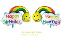 2015 new arriva 36inch rainbow balloons with smile .