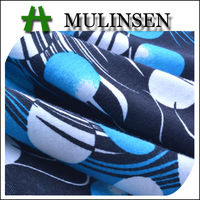 Mulinsen Textile Printed Stretch Poly Spun Blue White Polka Dot Fabric