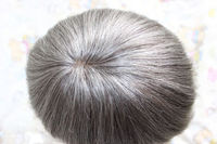 Elegant-wig 4inch french lace mens toupee gray hair, virgin silk top human hair topper best price