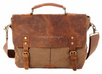 Fashion designer shopping vintage leather style canvas bag, waxed canvas shoulder messenger bag
