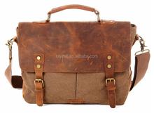 Fashion designer shopping vintage leather style canvas bag, waxed canvas shoulder messenger bag
