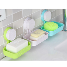 new plastic strong sucker soap box/soap holder/wall suction soap dish for kitchen and bathroom