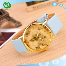 hot sale south Korea style world map quartz watch,vintage leather alloy watch