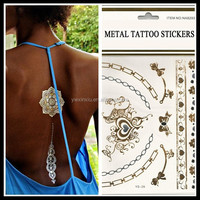 2015 get better life Hot Sale Flash Tattoo Gold and Silver Metallic Temporary Tattoo sticker