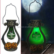 Polyresin pumpkin led barn lantern rchargeable garden light for Halloween decoration