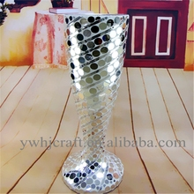 Fancy design tall glass floor flower vase with white diamond and white jewel