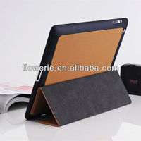 FL2265 2013 guangzhou hot selling collapsible ultrathin genuine wallet leather case with stand for ipad 3