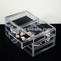 2013 Fashionable Crystal Clear Rectangular Acrylic Plastic Table Display Case And Jewelry Display Case