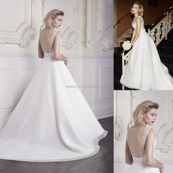2016 Elegant Lace Appliques A-Line Sweetheart Sleeveless Floor-length Bridal Gowns With Ruched Organdy Sash #W092