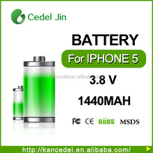 3.8V li-ion rechargeable phone battery For Iphone 5 5G