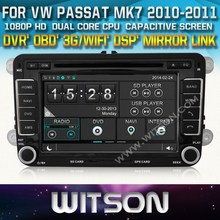 Witson CAR DVD para VW PASSAT MK7 2010 - 2011 carro DVD GPS 1080 P DSP tela CAPACTIVE WiFi 3 G frontal do DVR câmera