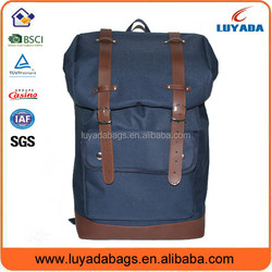 2015 Customized leather canvas backpack for teenage girls