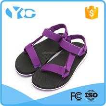 fast drying nylon webbing rubber flat sandal for girls for beach outdoor walking