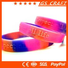 custom made debossed/embossed/printed silicone bracelet, qr code silicone bracelet