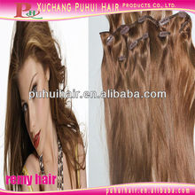 Brazilian virgin human hair clip in hair weft extension for black women