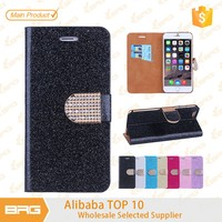 BRG Luxury Bling Glitter flip leather case for iphone 6 case leather