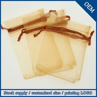 Wholesale 9X12cm Drawstring Organza Gold Wedding Bags