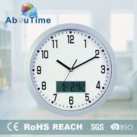 Metal wholesale promotional cheap wall clock with temperature and humidity