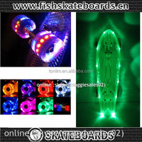 Fish skateboards with led wheel and led light on deck body