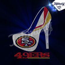 Korean Rhinestone 49ers High Heel shoes Rhinestone Transfer For Garment