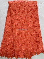 XZ006Z-4 Nigeria high quality hot design african guipure lace/cord lace fabric with embroidery for wedding dress Orange Color