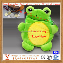 High quality animal shaped pleasing plush stuffed green frog coin case 2015 unique design for kids&girls