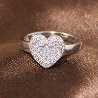 BJ055 Alibaba Supplier Classic Design Free DHL Shipping to America Brass+Cubic Zircon+Rhodium Plating Women Heart Ring