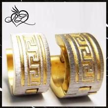 Wholesale Stainless Steel Gold Engraving Greek Keys Huggie Earrings