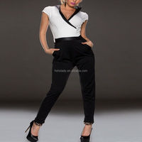 Wholesale fashionable jumpsuits for women polyester spandex deep-V women jumpsuits