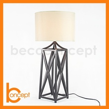 70CM Wrought Iron Metal Cage Copper Antique Table Lamp