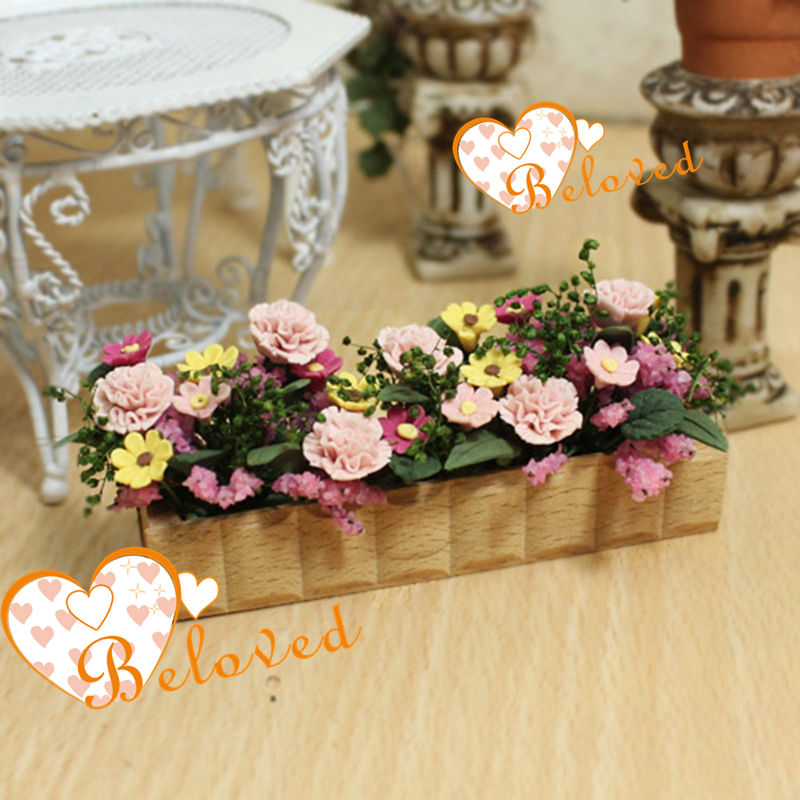 Window Box Planter Flowers Window Box Planter Dollhouse 1 Inch Scale Unfinished Wood And Flowers
