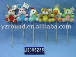 Valentines delicate plush cock&rabbit&bear&chick sticks toys