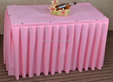 2015 hot sale accordion pleat polyester table skirt /table skirting pink colour