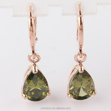 2015 New Fashion Women/Girl's 18k Yellow Gold Filled Pink/Green/Champagne Zircon Dangle Earring Jewelry