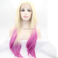 Synthetic ombre wigs 2T peruvian silk straight hair lace front cosplay wigs heat resistant fiber hair