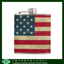 antique world style leather wrap America/USA/American flag stainless steel uantique style hip flask