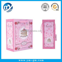 Wholesale promotional recycled paper shopping bag with pink