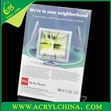clear acrylic menu holder for office, transparent perspex menu display stand with 14.5cm x 21cm x 6cm