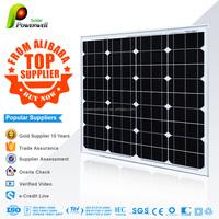 Powerwell Solar 50w Mono With CE/IEC/TUV/ISO Approval Standard Popular Supplier 50W PV mono Solar Panel black 125mm*125mm
