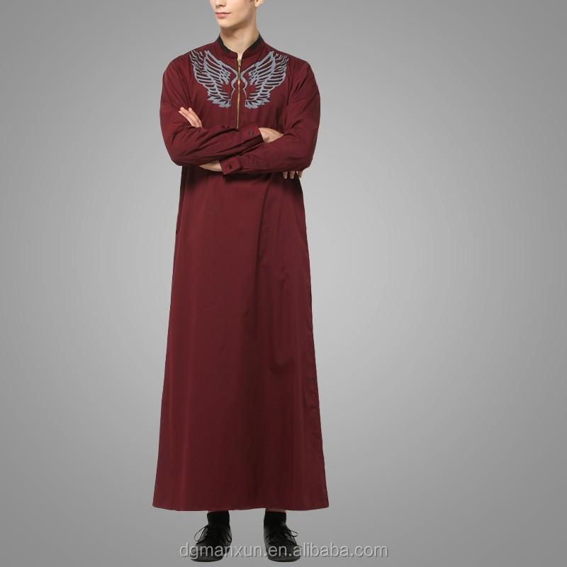 2016 Design Mens Islamic Thobe Saudi Style Robe Arab Sayyid Thobe Maroon (2).jpg